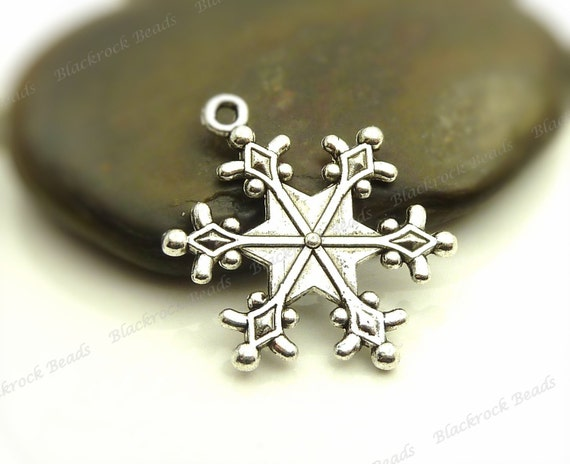 bulk 18 snowflake charms sided 28x24mm antique silver