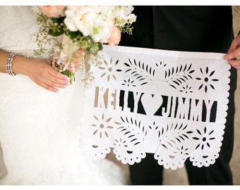 3 Hand Cut Fiesta Papel Picado Banners - Any Occasion - Personalized