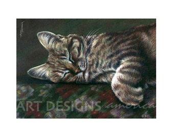 ACEO Sleeping Gray Tabby Cat Art Print, Artist Trading Card, Archival Art Print, SFA Small Format Art, Cat Kitten Pastel Print, ADA-P317
