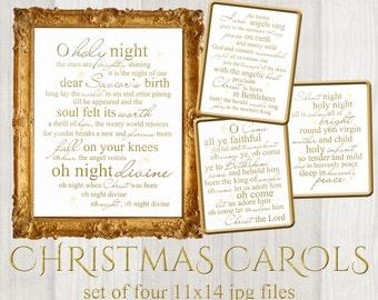 Holy night etsy set of 4 christmas carols word art lyrics printable digital typography stopboris Image collections