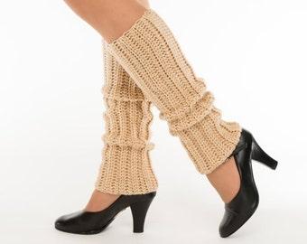 Beige Knit Leg Warmers, Crocheted Leggings, Handmade Women's Warm, Soft, Winter Accessory, Dance Wear, Exercise, Ballet, Jazz, 80's Style