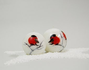 Christmas Candle Ball With Handpainted Red Birds - Christmas Table Decor - White Christmas Candle - Christmas Decoration
