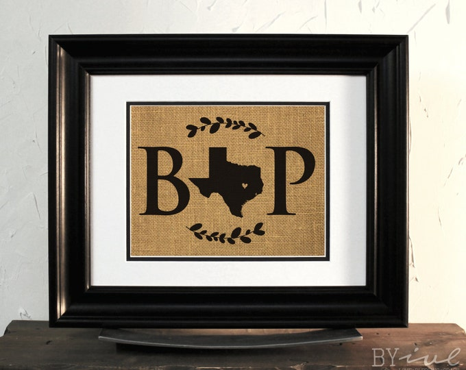 State of Texas Map Sign Art. Burlap Map. Wedding or Anniversary Gift. Custom Initial, City and State.