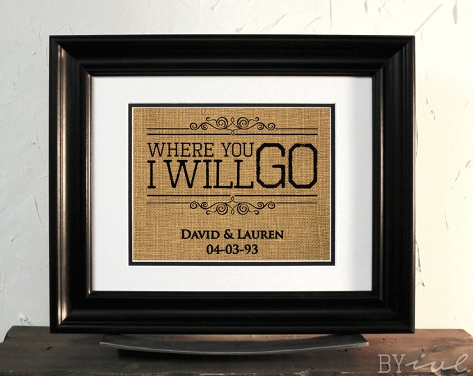Lovely Burlap Sign. Ruth 1:16, Where you go i will go. Couples Names & Marriage Date.