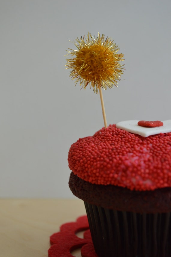 Gold Glitter Pom Pom Cupcake Toppers. 20 Pieces.
