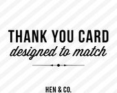 THANK YOU CARD - Add on - Made to Match - Customized thank you card - Digital or Printed