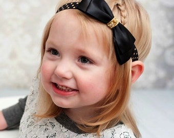 Black Satin Bow with Metallic Gold Dots Headband - Newborn Infant Baby Toddler Girls Adult