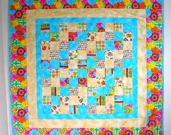 Patchwork Quilt, Throw Size, Picnic Quilt, summer colors, beach house