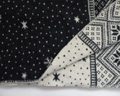 """Vintage Wool Winter Blanket Navy and White Throw 60"""" x 44"""""""