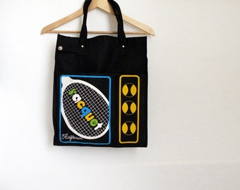 Black Vintage Racquet Ball Tennis Tote Purse Canvas Bag 70s Mod
