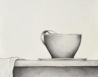 Original fine art pencil drawing-Figurative art drawing/cup/tea/breakfast/towel/table lunch/art pencil/original art by Cristina Ripper