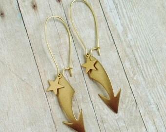 Industrial Arrow and Star Earrings 3 Earrings in 1