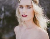 Crystal Brass Boho Luxe Wedding / Bridal Headpiece - Teeki - Hand Made