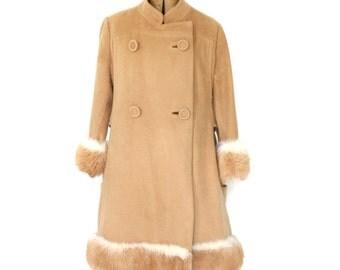 SALE Vintage Princess Coat 60s Camel Fur Trimmed Small