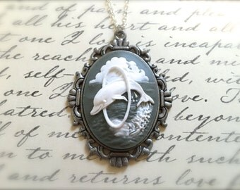 Dolphin Lover Necklace. Dolphin Cameo. Green. Antique Silver. Oval Cameo. Under 25 Gifts for Her. Beach. Under the Sea. Nautical. Ocean.