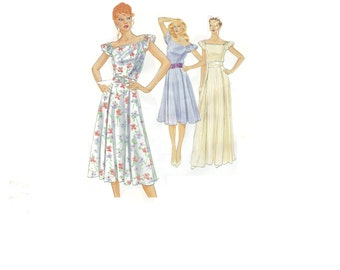 Boho Hippie Style Peasant Dress Vogue 8008 Sewing Pattern Retro 80s Style Evening Gown Fitted Bodice Ruffle Cap Sleeves Uncut FF Bust 34