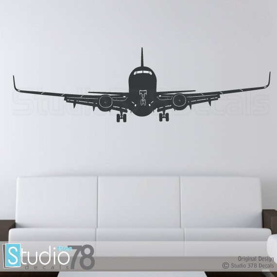 Airplane wall decal airplane decor childrens decor for Airplane decoration