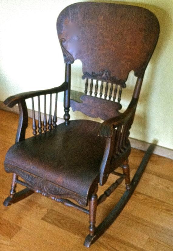 Antique Oak VIctorian ROCKING CHAIR Bentwood Veneer Spindle Back Sides -  Antique Platform Rocking Chair Concept - Antique Victorian Rocking Chair Antique Furniture