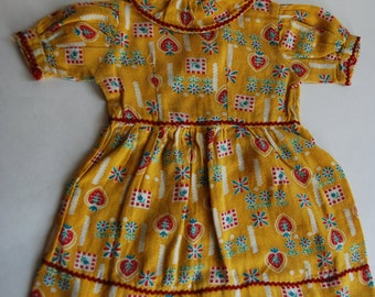 Vintage Doll Dress, Yellow and Red, Rick Rack