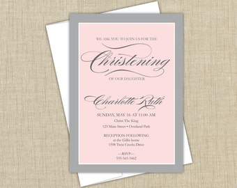 Baptism invitation. Christening announcement. boy or girl