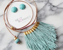 Smokey Teal Blue FRINGE Necklace silver or gold  Leather Adjustable cord  statement tassel FRINGE Next Romance Jewels Australia