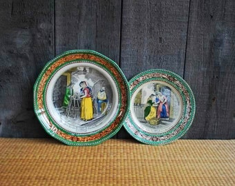 "pair of vintage English ironstone plates - Adams' ""Cries of London"" series - 1 dinner plate, 1 dessert plate"