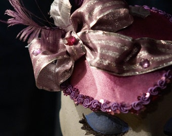 Purple / Pink Fascinator Hat with purple and silver bow and silver leaf