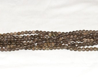 "Smoky Quartz 6mm Round Faceted Gemstone Beads B - 15.5"" Strand"