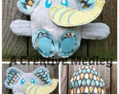 Peekaboo Elephant In the Hoop Stuffed Softie - Reversible folds into an egg, ITH, IN The Hoop, Embroidery Design, Instant download