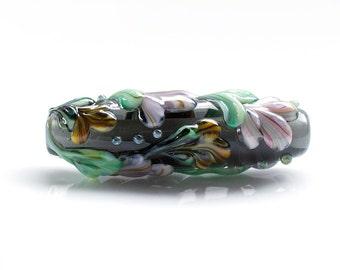 Floral Lampwork Glass Focal Bead