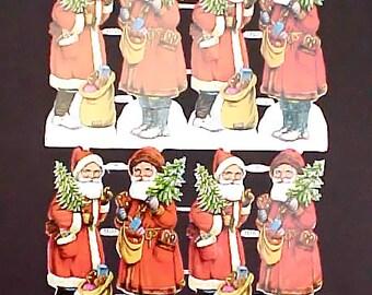 Vintage German Santa Claus Scrap Sheet-8 Embossed Santas