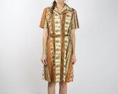 SALE Vintage SHIRT DRESS, Cotton dress Orange Cream Paisley floral Stripe dress Japanese vintage dress 80s secretary dress, Medium