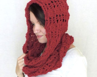 Chunky Hooded Crochet Red Infinity Scarf