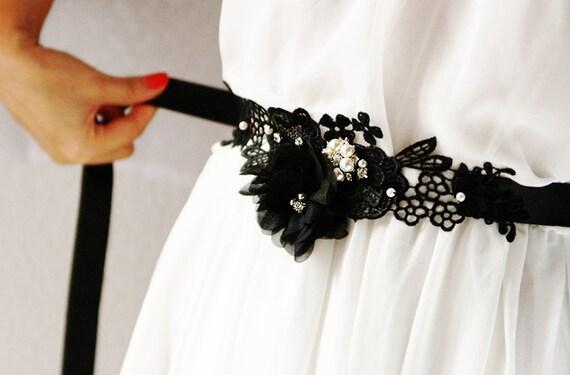 Black Sash Belt - Chiffon Lace Flower Austrian Crystals Rhinestones - Wedding Dress Sash Belts