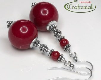 Sterling silver earrings with Red Coral