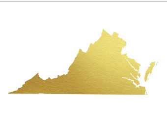 Virginia Gold Foil Clip Art State - Commercial Use, Wedding, United States, South, VA, Richmond, West Virgina, Lovers,  - INSTANT DOWNLOAD