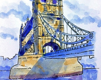 Tower Bridge London - print from an original pen and wash painting by John Menage size A3