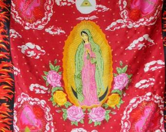 vintage MOSCHINO silk scarf / Our Lady of Guadalupe / saints santos / novelty print scarf / large square scarf / vintage scarf