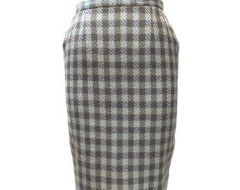 vintage 1960s plaid pencil skirt / Ardee Sportswear California / wool / wiggle skirt / women's vintage skirt / size small