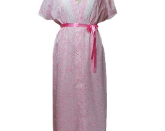 vintage 1960s cherry blossom peignoir set / pink white / floral lace / ribbon belt / nightgown / women's vintage lingerie / size large