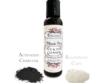 Organic Face Wash Ultimate DETOX Activated Charcoal and Bentonite CLAY Lather Facial Cleanser -  Tea Tree, Lemongrass,  Sandalwood, Oregano