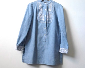 denim OXFORD blue embroidered button up down collared shirt