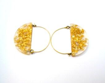 Half moon earrings. gold leaf. Dangle earrings. Resin earrings, Modern Jewelry. clear minimal