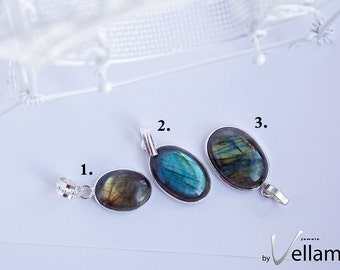 Northern light Collection, small blue and golden flashy labradorite oval shape pendant sterling silver overlay bail, natural gemstone