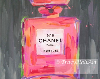 Chanel Perfume Art Painting PRINT Chanel No. 5 Perfume Bottle Coral Pink Gray from Original painting by Tracy Hall