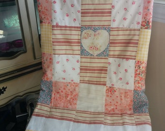 Little House on the Prairie Pink Baby Quilt / Patchwork Quilt / Vintage Style Quilt / OOAK