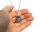 Lavender Flower Nature Filled Glass Ball Pendant Silver Necklace