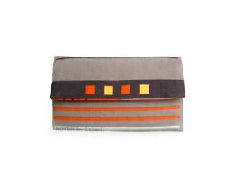 Womens Wallet, Brown and Orange Wallet, Trifold Wallet, Vegan Wallet