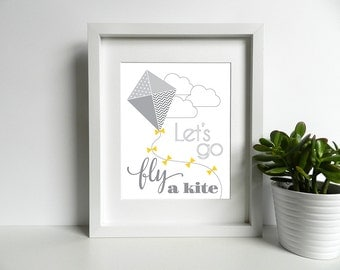 Let's Go Fly A Kite - Nursery - 8x10 inch print