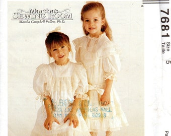 """Girls' Victorian, Lacy Dress and Slip Pattern - Size 5, Chest 24"""" - McCall's 7681 uncut"""